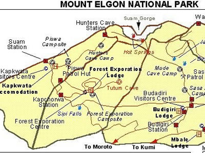 Map of Mountain Elgon National Park